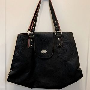 Black and pink vegan leather tote large roomy